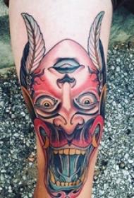 欧美拼接纹身 男生小腿上人物和般若纹身图片