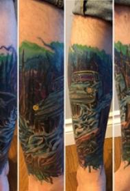 汽车纹身 男生小腿上彩色的汽车纹身图片