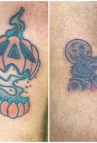 万圣节纹身图案  男生腿上彩色的万圣节纹身图片