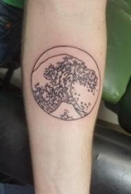 纹身圆形 男生手臂上圆形和浪花纹身图片