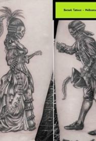 骷髅和人物纹身图案  女生小腿上骷髅和人物纹身图片