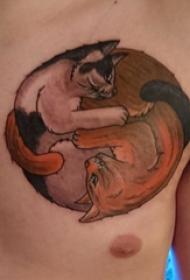 小猫咪纹身   男生胸上彩绘的小猫咪纹身图片