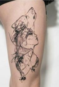 大腿纹身传统 女生大腿上狼头和人物纹身图片