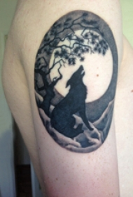 狼和花纹身图案 男生大臂上大树和狼纹身图片
