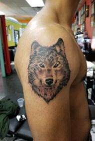 滴血狼头纹身  男生大臂上素描的狼头纹身图片