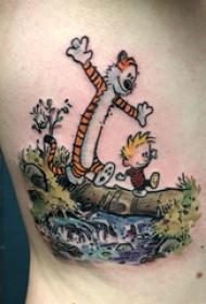 卡通老虎纹身  男生侧腰上彩绘的卡通老虎纹身图片