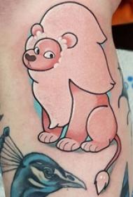 纹身卡通 女生小腿上彩色的卡通狮子纹身图片