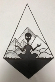 外星人纹身 神秘的菱形和外星人纹身手稿