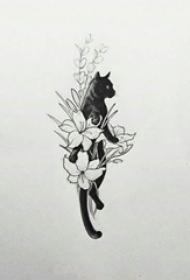 猫咪纹身手稿 小清新的花朵和猫咪纹身手稿