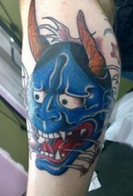 欧美小腿纹身 男生小腿上彩色的般若纹身图片