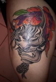 妖魔鬼怪纹身  女生大腿上彩绘的妖魔鬼怪纹身图片