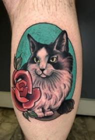 小动物纹身 男生小腿上玫瑰和猫咪纹身图片