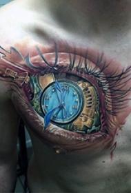 纹身胸部男 男生胸部彩色的机械眼睛纹身图片