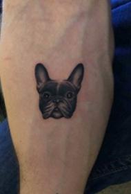 小狗纹身图片 男生手臂上黑色的小狗纹身图片