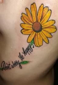 侧腰纹身图 女生侧腰上英文和花朵纹身图片