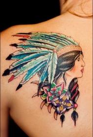 一组个性十足的印第安人纹身图案