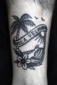 棕榈树纹身图案   根深叶茂的棕榈树纹身图案