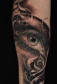 纹身眼睛纹身图案 男性手臂上穿透灵魂的黑色素描纹身眼睛纹身图案