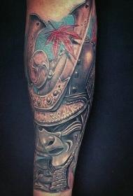 日本武士面具纹身  面容凶狠的日本武士纹身图案