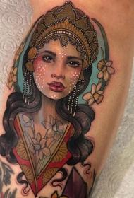 女人头纹身图案   多款艺术纹身彩绘风格和黑白灰风格的女人头纹身图案