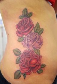玫瑰纹身图  艳丽动人的玫瑰花纹身图案