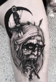 个性暗黑纹身:暗黑风格的一组个性黑灰纹身图案