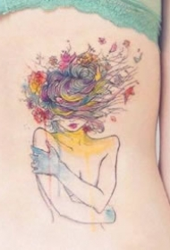 一组水彩色的潇洒女孩纹身作品