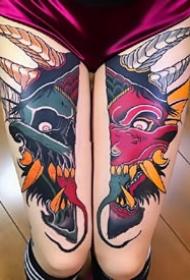 彩色般若:很漂亮的一组彩色般若纹身图案