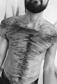 暗黑凌乱线条的创意变革性纹身图案