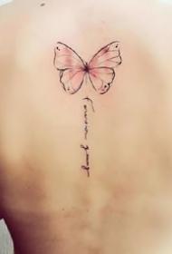 适合女生的一组小清新彩色小蝴蝶纹身图