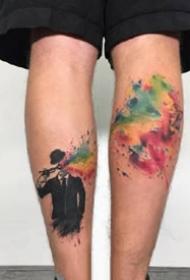 9张水彩融合了垃圾波尔卡风格的纹身图