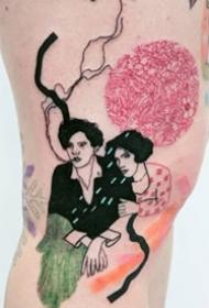 创意的一组彩色抽象人物纹身图案