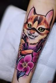 school风格的一组猫纹身图案欣赏