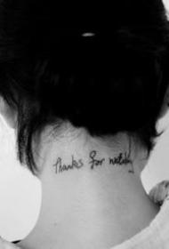 超简约的一组黑色小英文字体纹身图案