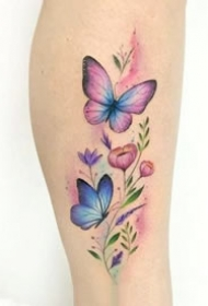 小清新的一组彩色蝴蝶纹身图案
