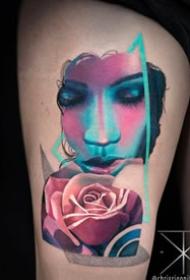 抽象与写实相结合的美女人像纹身图片