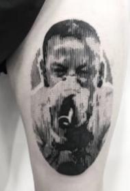 17张黑灰点刺朦胧人头像纹身欣赏