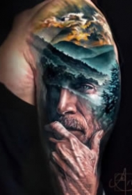 =超逼真的欧美写实人像纹身图案