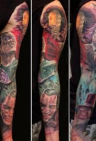 彩色的一组花朵骷髅纹身图案欣赏
