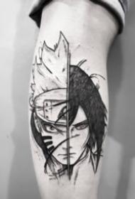 动漫卡通人物的黑灰素描纹身图案