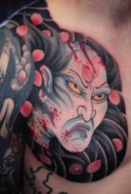传统风格的胸胛半甲纹身图案