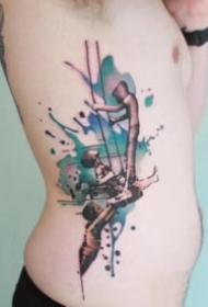 唯美的水彩色小清新纹身图案9张
