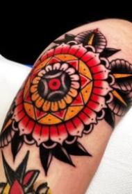 纹在膝盖上的oldschool梵花纹身图案