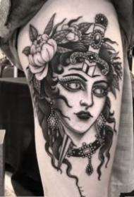暗黑色的一组黑色女郎纹身图案