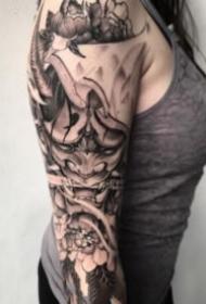 帅气的一组传统般若纹身图片