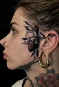 头部耳朵旁的school植物小纹身图案