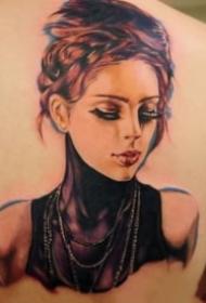 欧美的一组写实人物肖像纹身图片