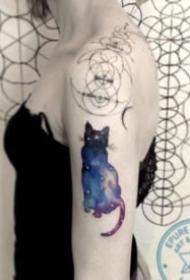 猫的轮廓+星空主题的一组纹身作品