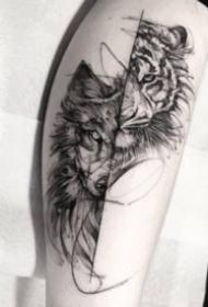 帅气的一组好看黑灰老虎纹身图案