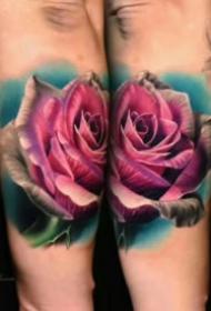 14组漂亮的欧美写实彩色玫瑰纹身图